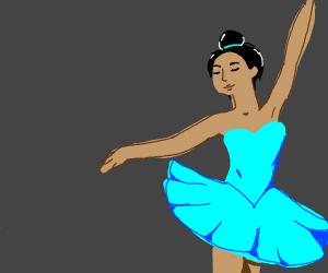 A ballerina in a cyan dress