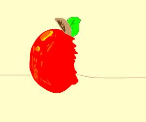 Dis is a half eaten apple.