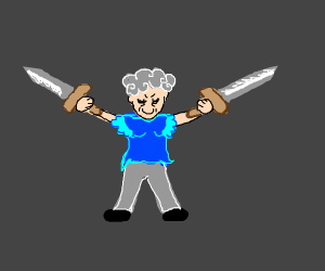 Old lady in bunny slippers wielding 2 sword