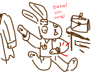 Rabbit late for work