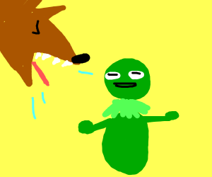 Wolf barfs up Kermit the frog.