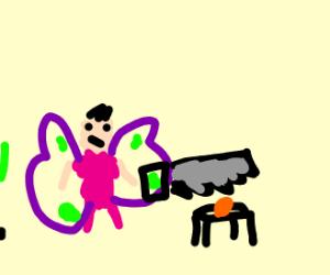a fairy sawing a cut in orange paper