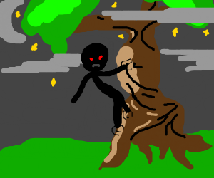 Black person in a tree at night