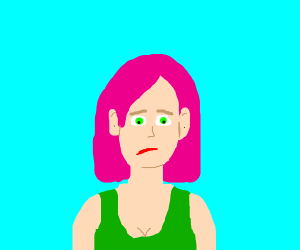 Pink haired girl is sad