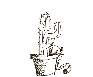 Cat has been hiding in cactus for hours