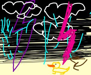 A duck being struck by lightning