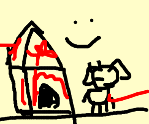 Dog and a doghouse