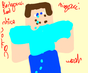steve from minecraft crying