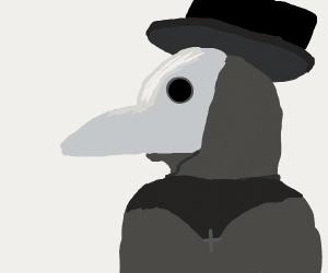 A solemn plague doctor