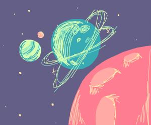 multicoloured planets
