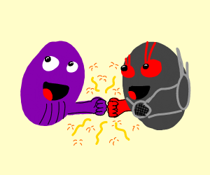Thanos and Antman fist-bumping