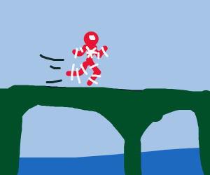Spiderman runs over a bridge