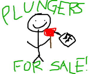man selling plungers