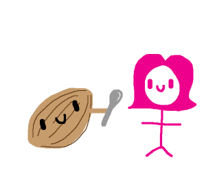 A walnut giving a spoon to a pink stickwoman