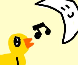 bird sings tune to moon
