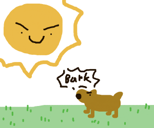 Dog barks at the sun
