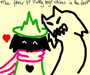 Ralsei destroying his shadow part withkindess