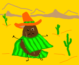 Potato wears green striped poncho