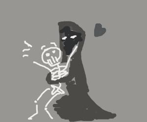 A tall cloaked figure surprise-hugs skeleton