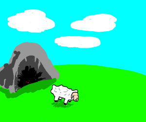 Sheep crawling out of a cave