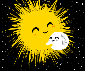 The sun and moon hug each other