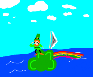 Leprechaun riding Irish boat