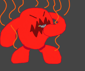 Fire-esque monster eats pidgeon
