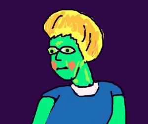 Blushing blonde boy w blue shirt & green eyes