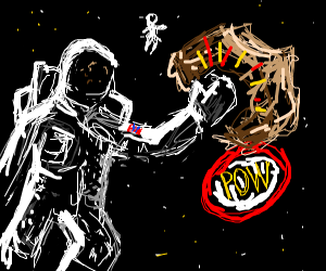 Astronots fighting over space rock
