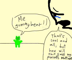 gummy bear singing gummy bear to a crying man