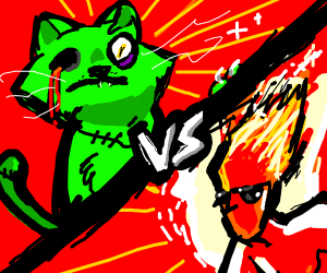 Zombie cat vs cool MFing flame dude