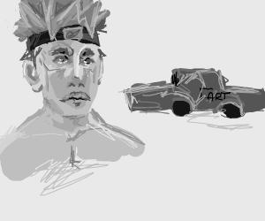 ninja next to a fart car