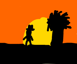Cowboy and tree looking into the sunset