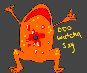 Orange frog gets shot