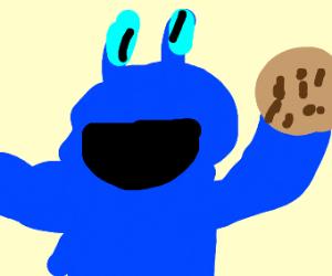 Cookie Monster with blue mr krab eyes