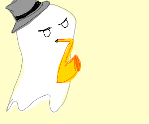 Ghost playing saxophone with top hat gray