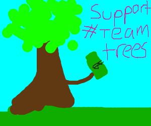 Tree donating money team trees