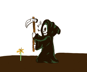 The grim reaper waiting for daffodil to die