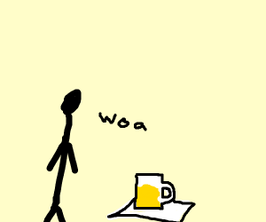 man has beer on a paper towl