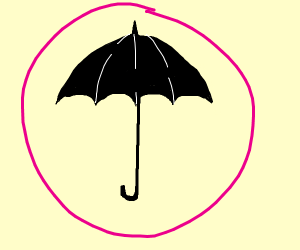 Black Umbrella In A Pink Circle