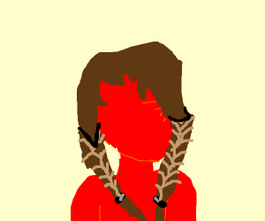 Red faceless girl with brown pigtails