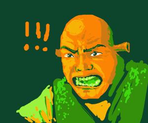 Orange Shrek swears at people in his swamp