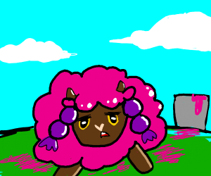 annoyed wooloo covered in pink paint