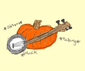 Pumkin plays the banjo