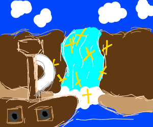 A pirate ship passing a magical waterfall