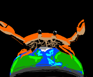 Crab on top of the world