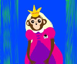 An ape cosplaying as a princess
