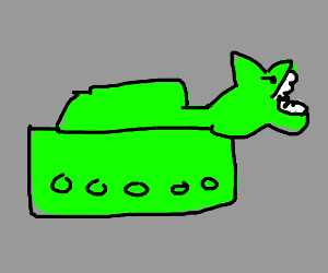 A tank fused with a shark