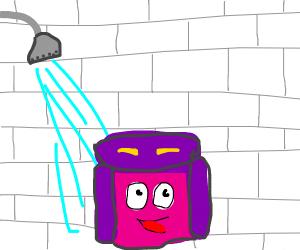 Dora Backpack takes shower