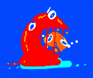 Red blob devours orange blob